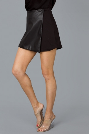 Leather Asymmetric Skort, Black