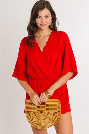 Scallop Edge Romper, Red