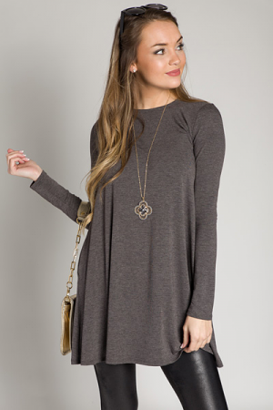 Swing Pocket Dress, Charcoal