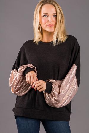 Shiny Sleeves Pullover, Black