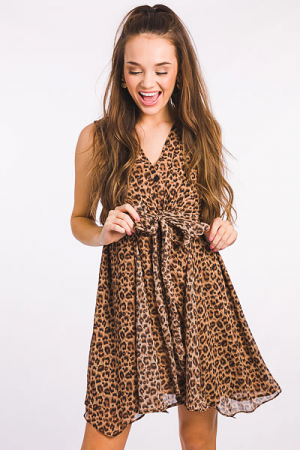 Front Knot Leopard Dress