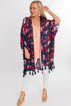 Kyla Tassel Kimono, Navy Blooms