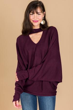 Clea Choker Sweater, Eggplant