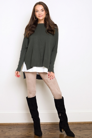 Solid Hi-Lo Sweater, Dark Green