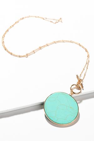 DeeDee Disc Necklace, Turquoise