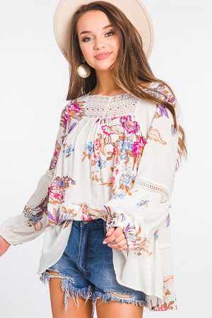 Baili Blooms Tunic, Off White