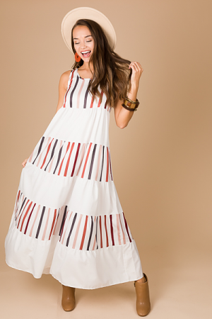 Blank Space Tiered Maxi, White