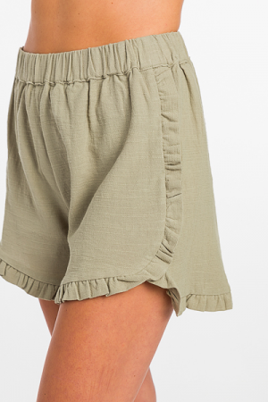 Ruffle Edge Shorts, Sage