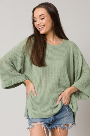 Notch Side Waffle Top, Sage