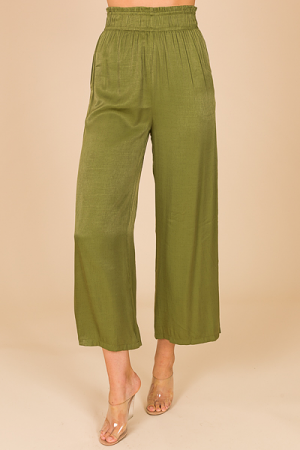 Wide Leg Glam Pant, Olive