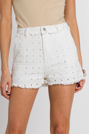 Squared Distressed White Shorts
