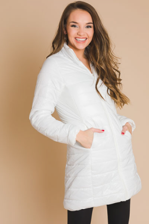Long Quilted Jacket, White