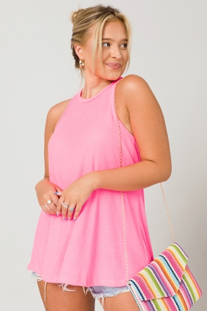 Ribbed Flowy Tank, Hot Pink