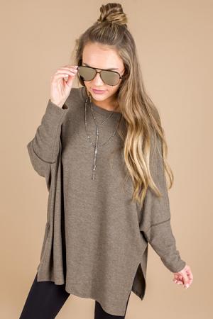 Boxy Dolman Sweater, Olive