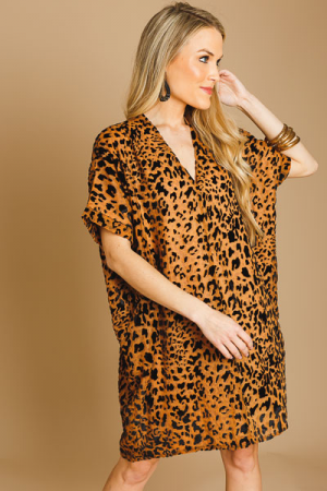 Leopard Burnout V Dress