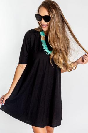 Woven Swing Dress, Black