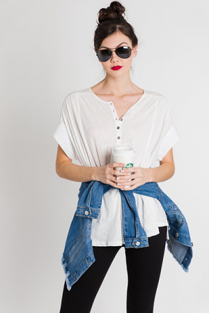 Oversized Henley, White
