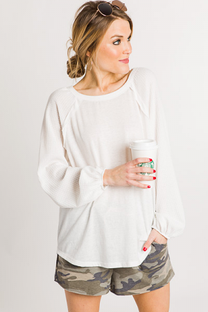 Thermal Sleeves Top, Off White