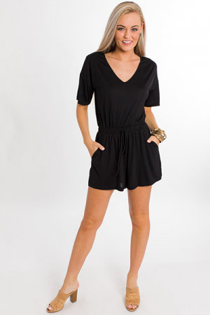 Long Weekend Romper, Black