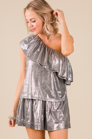 Silver Shine Ruffle Top