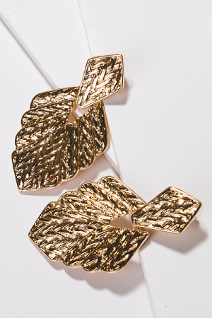 Hammered Gold Leaf Earring