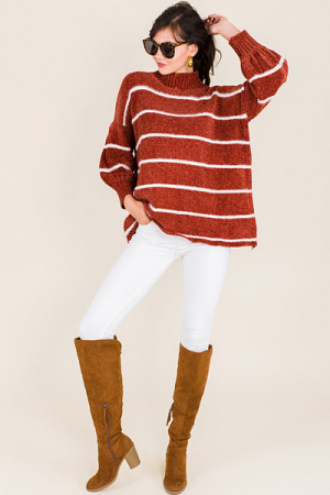 Mock Neck Chenille Sweater, Brick