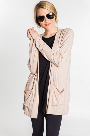 Soft and Smooth Cardi, Taupe