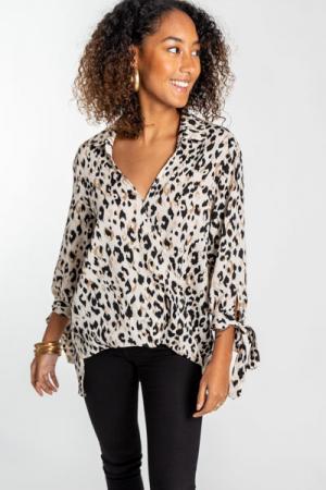 Leopard Wrap Blouse, Cream