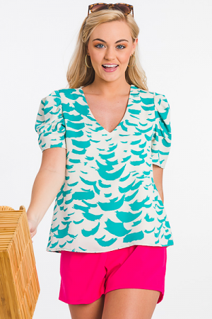 Printed Puff Sleeve Top, Jade