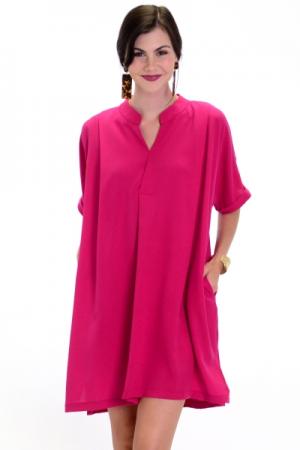 Oversize Pocket Dress, Berry