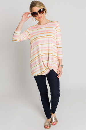 Pink Stripes Twist Top
