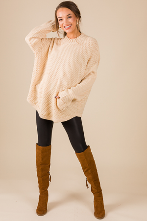 Chunky Pocket Sweater, Beige