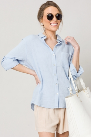 Gauze Button Down, Chambray