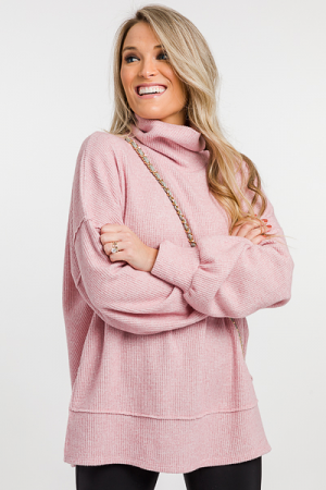 Micro Thermal Cowl Tunic, Pink