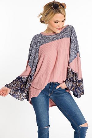 Flutter Sleeve Poncho, Pink