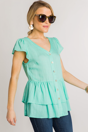 Button Front Babydoll, Mint