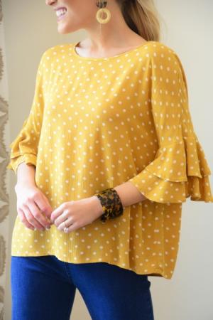 Mustard Muse Dot Top