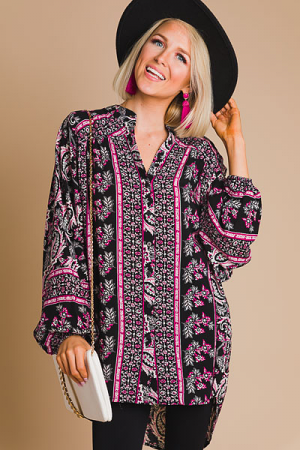 Black Paisley Button Tunic