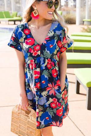 Floral Babydoll Dress, Navy