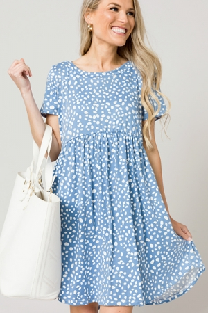 Spotted Creamy Dress, Blue