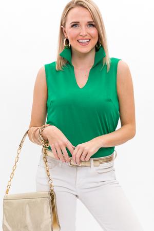 Collared Cotton Top, Emerald