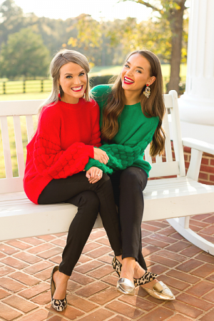 Puffed Sleeves Sweater, Red