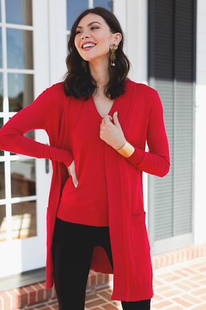 Easy Living Cardigan, Red