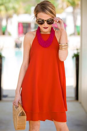 Tomato Tiered Tank Dress