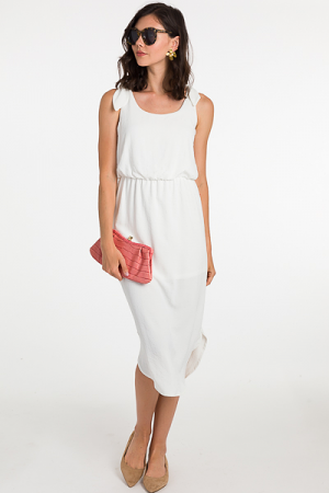 Tie Shoulder Midi, White