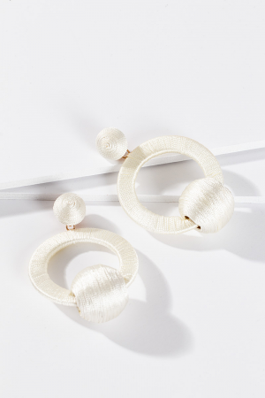 Thread Trapeze Earring, White