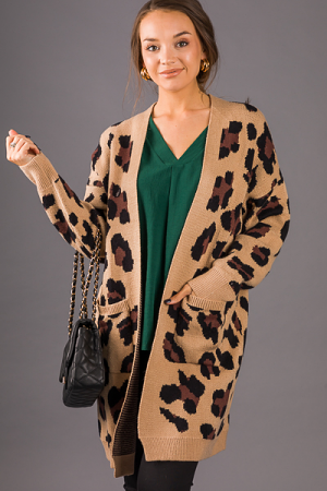 Longer Leopard Cardigan, Taupe