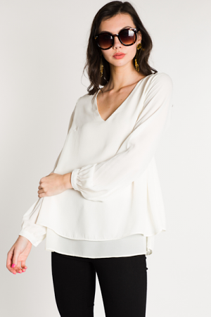Double Layer Blouse, Ivory