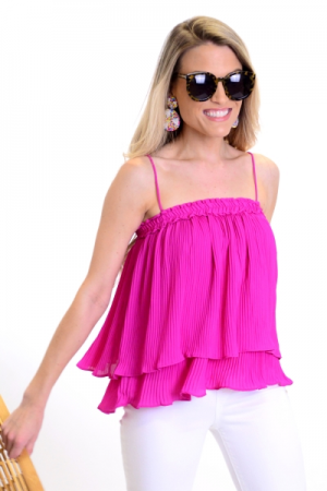 Very Berry Pleated Top