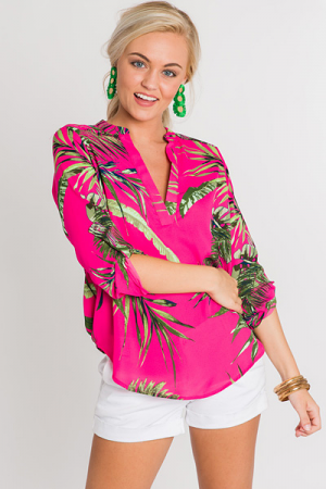 Pink Palm Tabbed Blouse